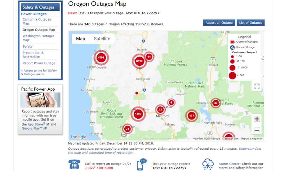 Storm knocks out power to over 15,000 Pacific Power customers in
