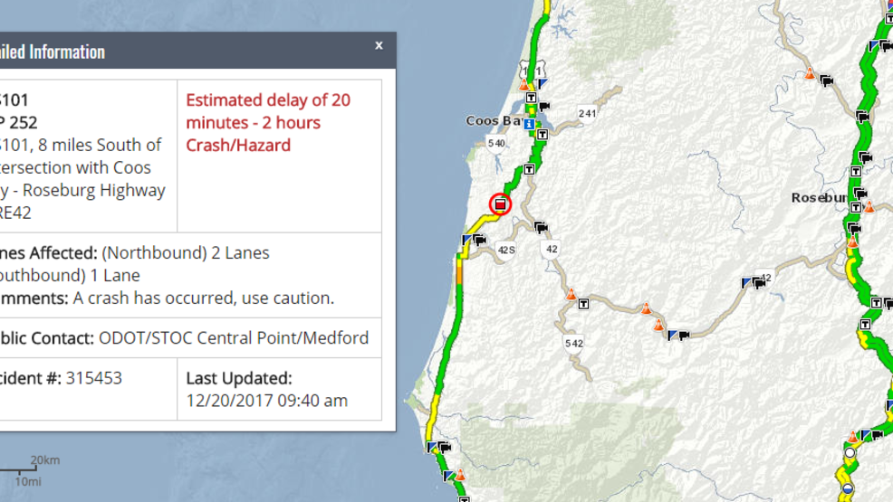Crash closes Hwy 101 south of Coos Bay | KCBY